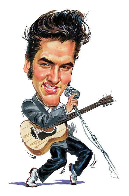 elvis presley art print by art in 2019 elvis presley caricature elvis presley celebrity caricatures