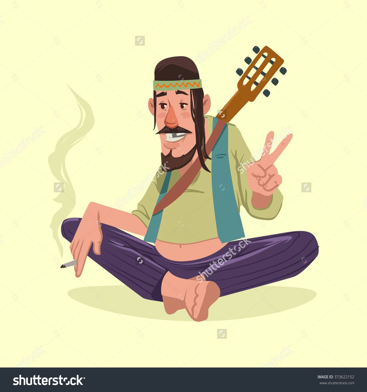 hippie smokes and shows the peace symbol guitar vector illustration