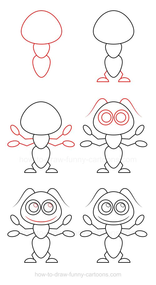 learn how to draw an ant mostly made from circles and simple shapes