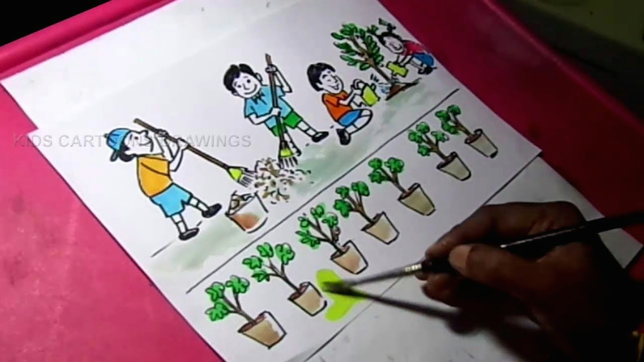 how to draw clean india green india drawing for kids kids cartoon drawings