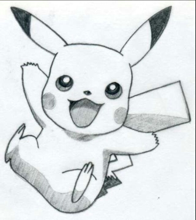 easy pikachu drawing if this was colored it would be even better pokemon 3