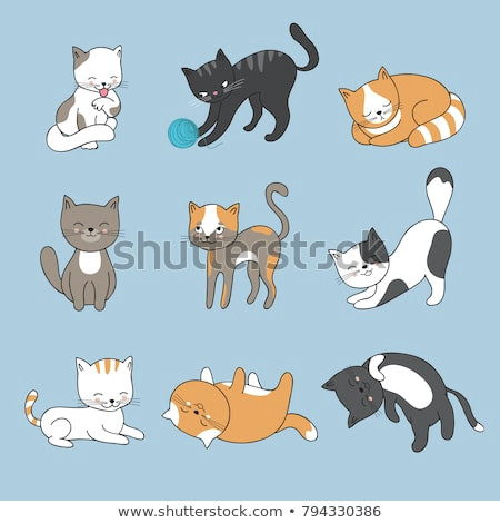 Cartoon Drawing Kitty Hand Drawing Cute Cats Vector Kitty Stock Vektorgrafik Lizenzfrei