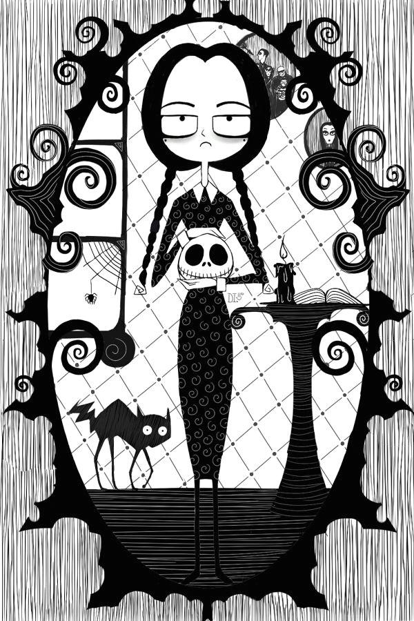 wednesday addams nightmare art illustration by daphinteresting cartoons drawing pinterest dessin art dessin and mercredi
