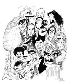 cast of sesame street by al hirschfeld celebrity drawings celebrity caricatures caricature