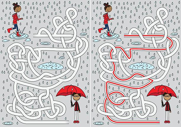rainy day maze illustration