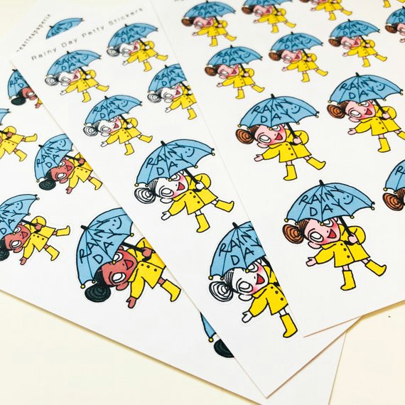 rainy day petty stickers planner decoration routine stickers planner stickers kawaii stickers cute stickers