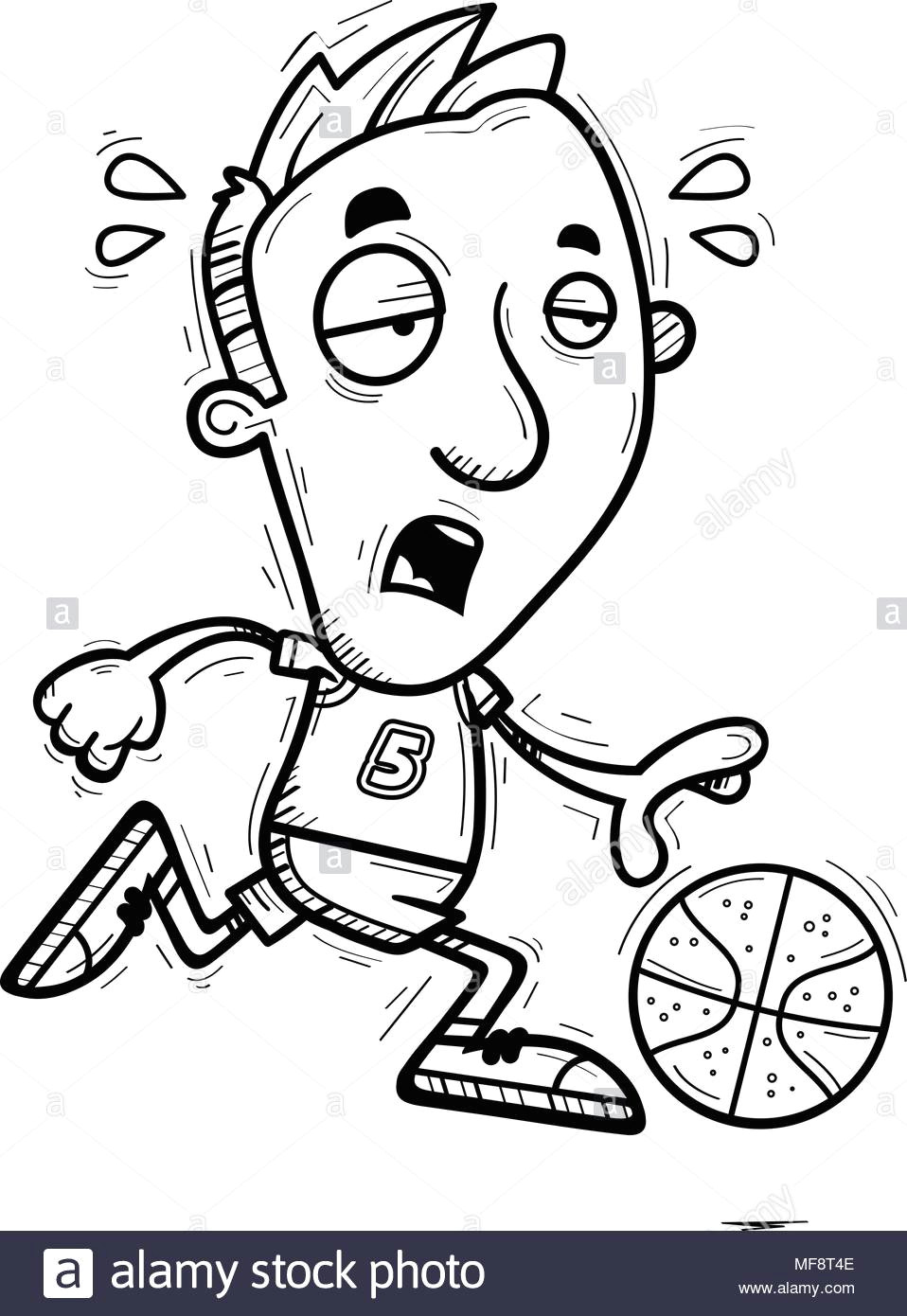 a cartoon illustration of a man basketball player running and looking exhausted