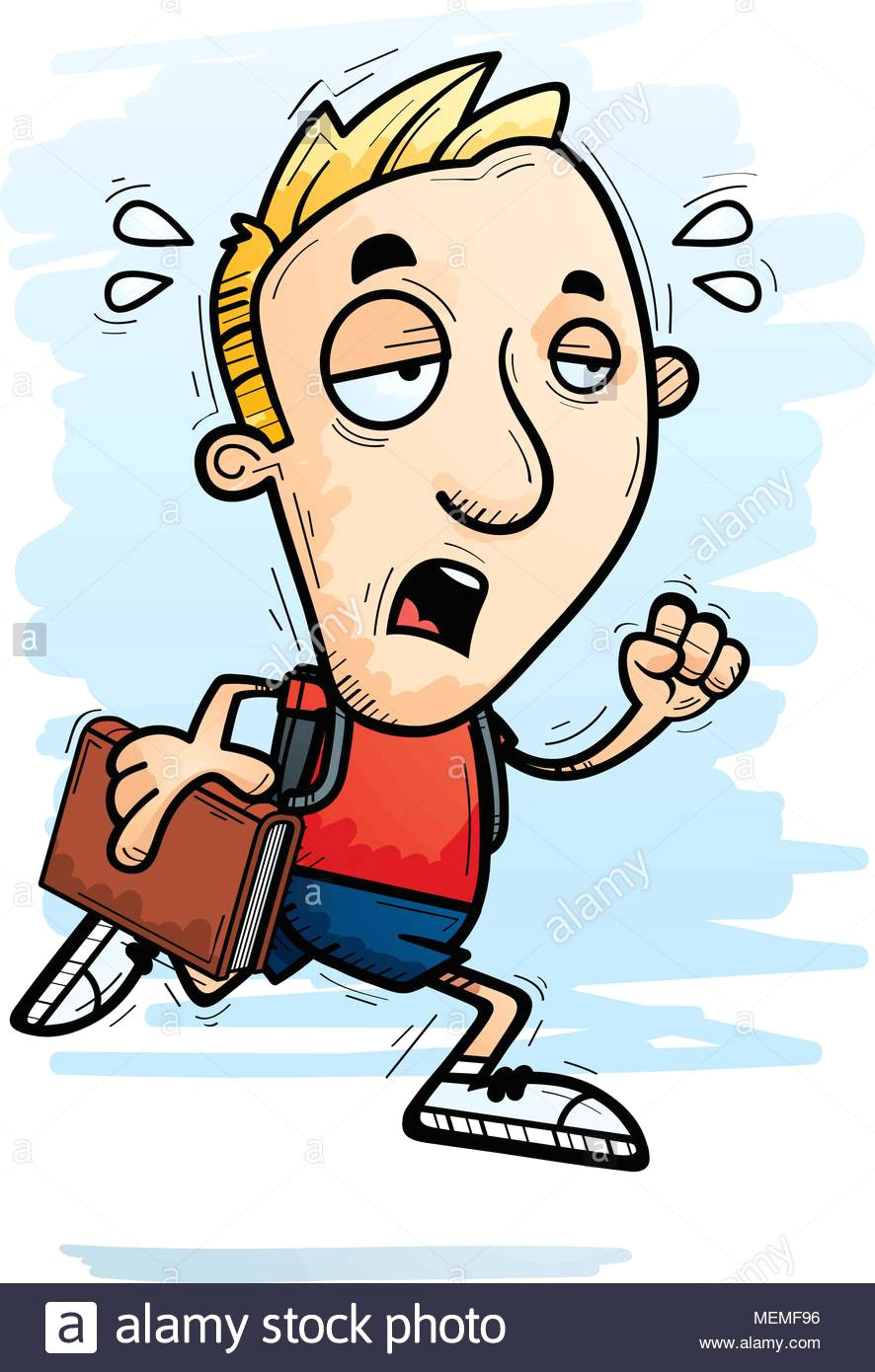 a cartoon illustration of a man student running and looking exhausted