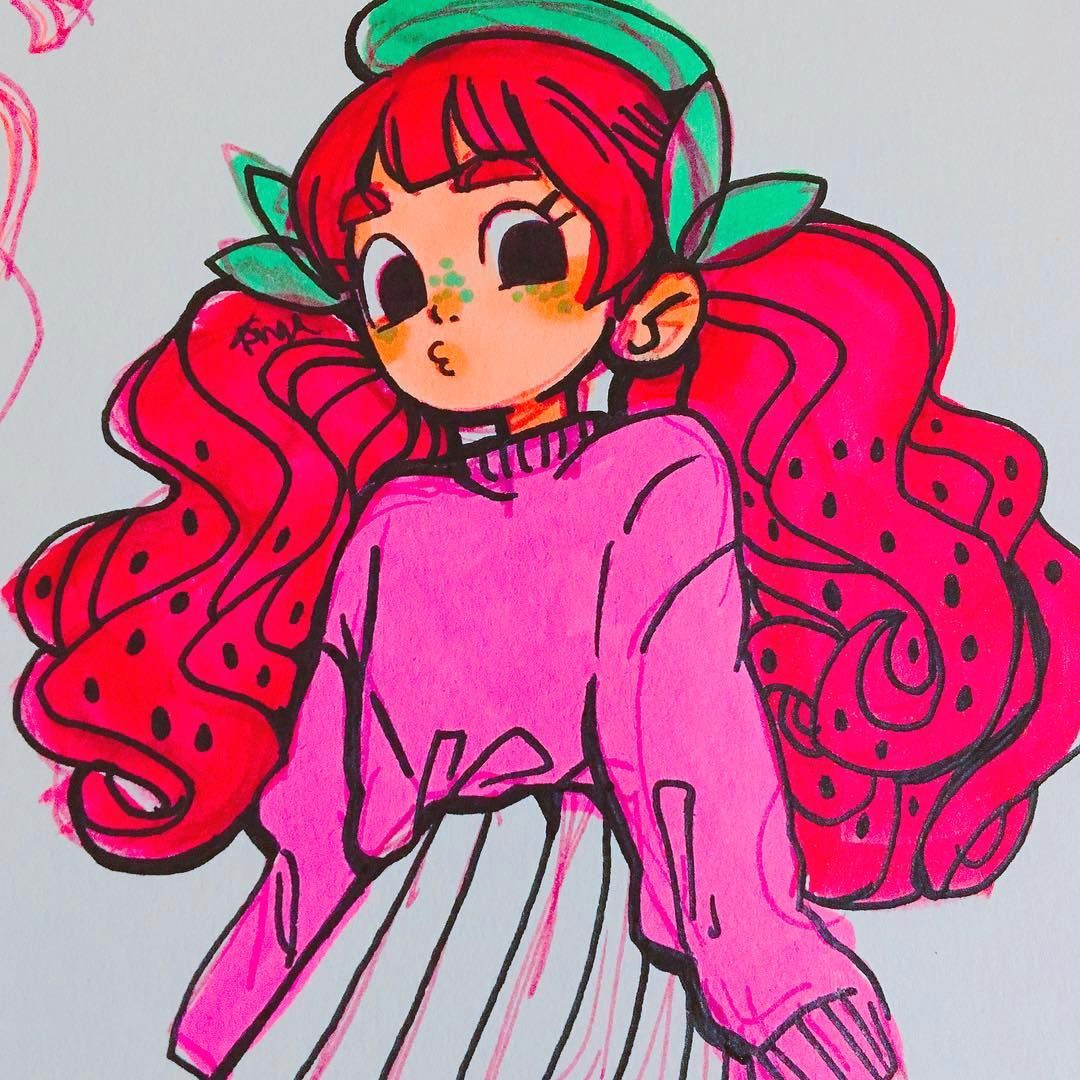 angel s secret art service on instagram is she a strawberry is she a watermelon who knowwwsss draw draws drawing ocs character illust sketches