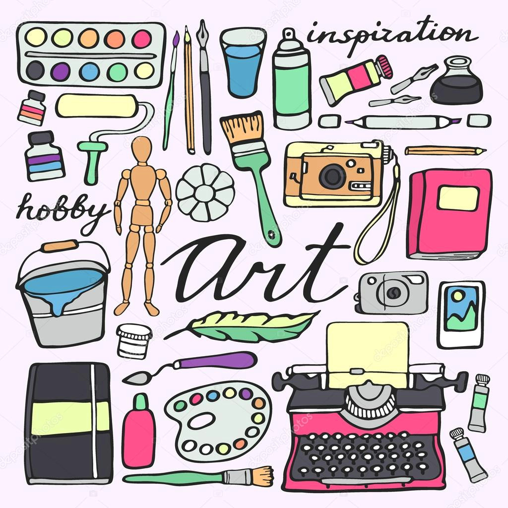 Cartoon Drawing Supplies Art Supplies Set Hand Drawn Cartoon Collection Of Art tools
