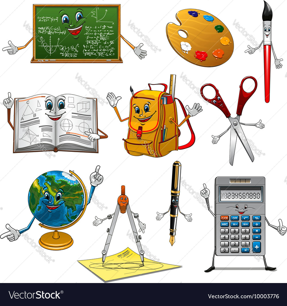 back to school items cartoon characters vector image