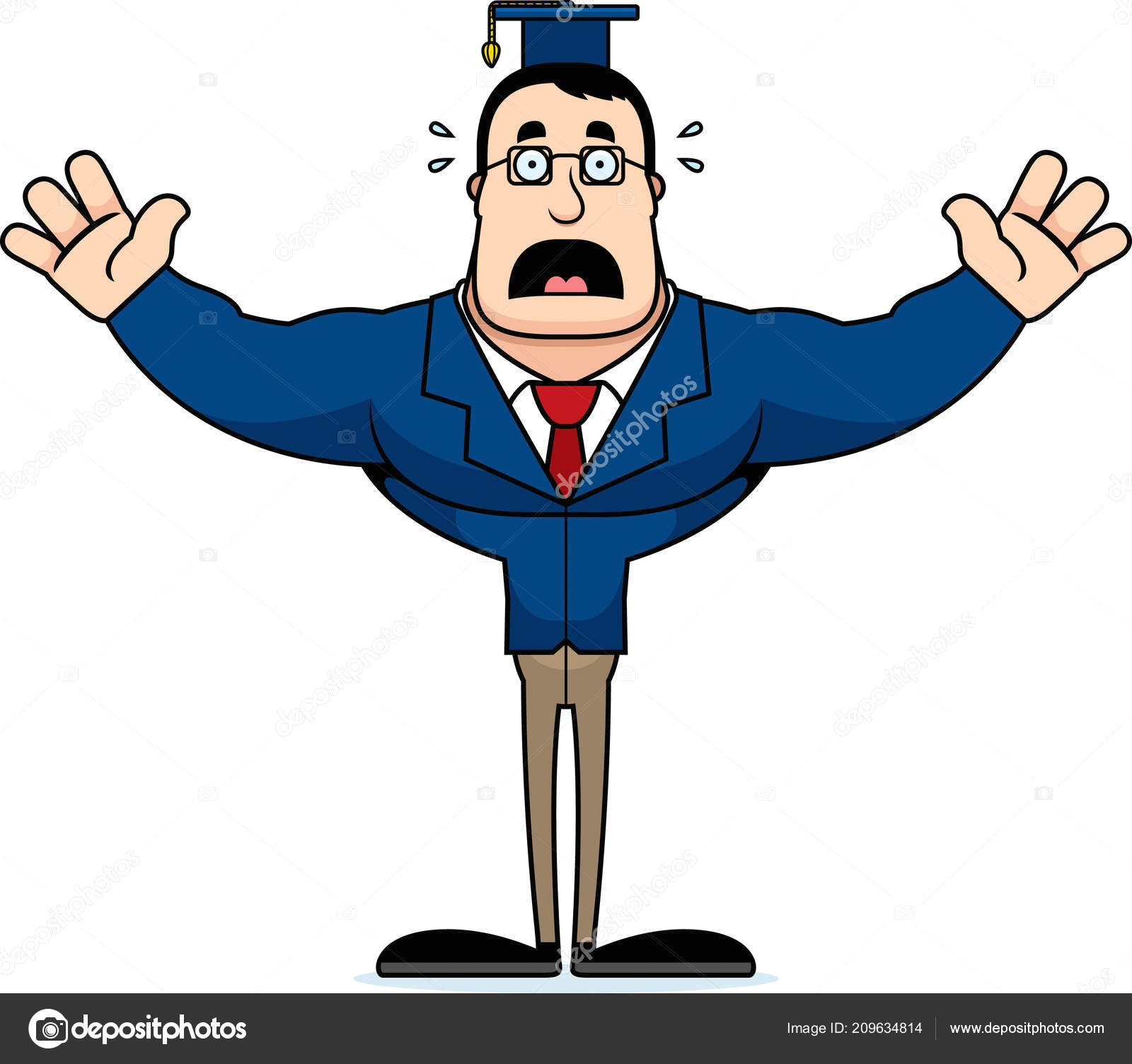 a cartoon teacher looking scared stock illustration