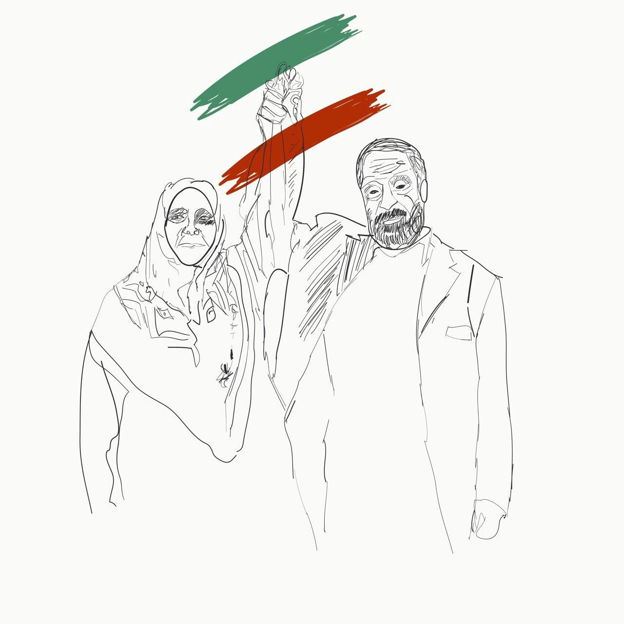 hashem khaastaar one od the independent leaders of teachers in iran is released now after 19 days this is his portrait with his wife to proud for iran