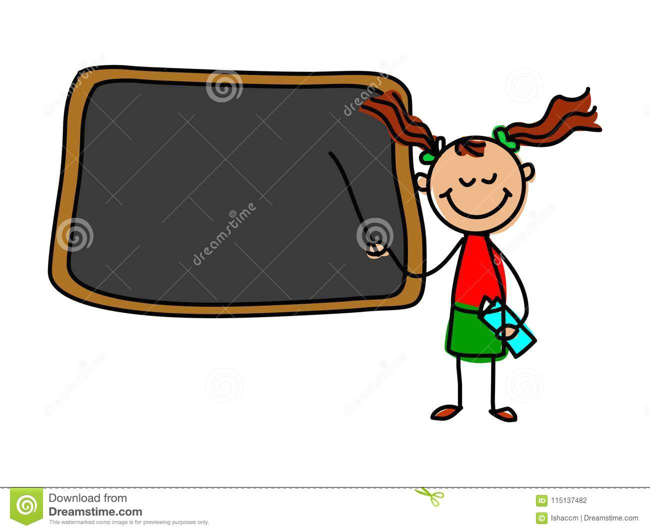 Cartoon Drawing Teacher Kid Teacher Cartoon Kid Vector Illustration Stock Vector