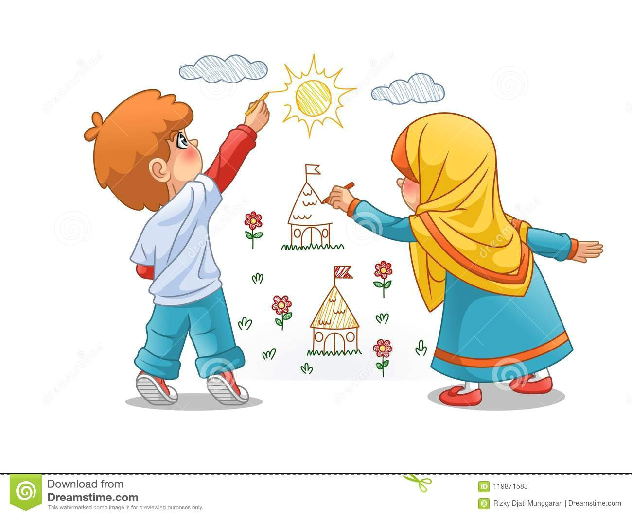 muslim girls and boy draw landscapes on the walls cartoon character design vector illustration isolated against white background