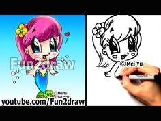 fun2draw how to draw people chibi mermaid kawaii drawings easy drawings cartoon