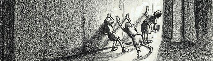 cartoon drawing of three children hiding behind a massive door
