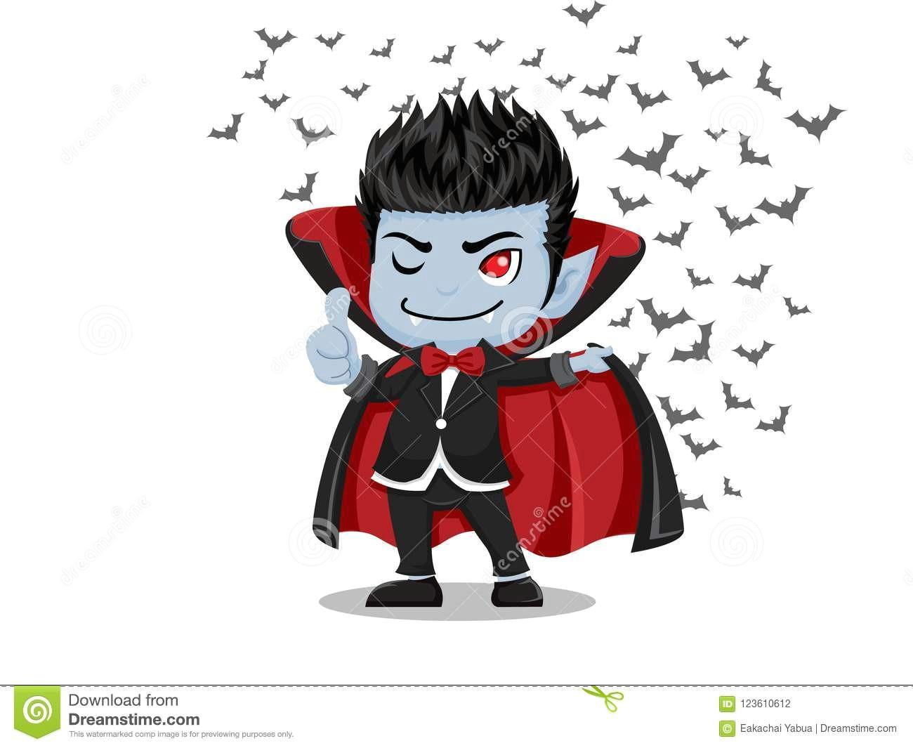 halloween cartoon dracula vampire and flying bats isolated on w