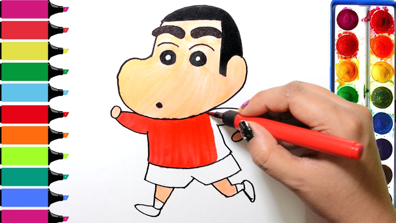 draw color paint shinchan coloring pages and learn colors for kids