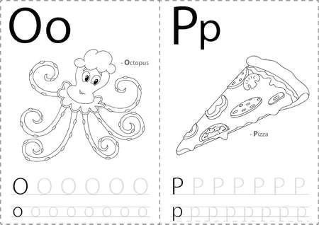 52150350 cartoon krake und pizza alphabet tracing arbeitsblatt schreiben az malbuch und lernspiel fur kinder
