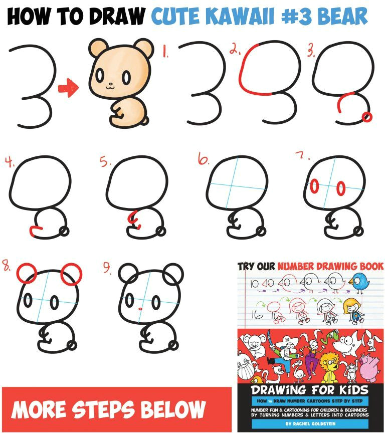 how to draw cute chibi kawaii characters with number 3 shapes easy step by step drawing tutorial for kids and beginners