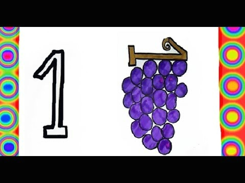 how to draw numbers from 1 to 5 trasform into fruit cartoon colouring pages game for kids colors