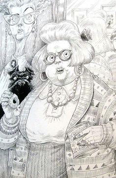 chris riddell the illustration cupboard pencil illustration caricature disney coraline coloring