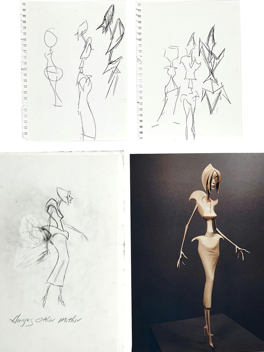 concept drawings of the evil other mother drawn by the film s director henry selick two of the concept artwork pieces of the body of evil other mother are
