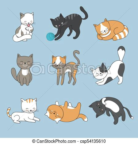 Cartoon Kitten Drawing Hand Drawing Cute Cats Vector Kitty Collection Animal Kitty Od Set