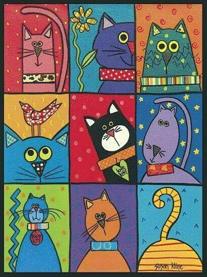 hand painted animals cat crafts easy cat drawing painting on tiles easy patterns