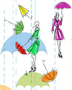 detail pattern tench coat ladies with umbrellas
