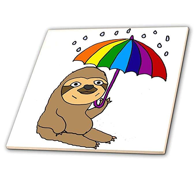 amazon com 3drose all smiles art animals funny cute sloth with rainbow umbrella cartoon 8 inch glass tile ct 273491 7 home kitchen