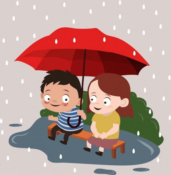 childhood drawing little boy girl rain umbrella icons