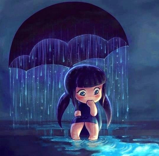 girl under umbrella in rain cartoon illustration via www facebook com gleamofdreams