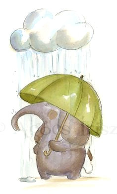 artista blog irisz agocs umbrella art under my umbrella elephant illustration cute