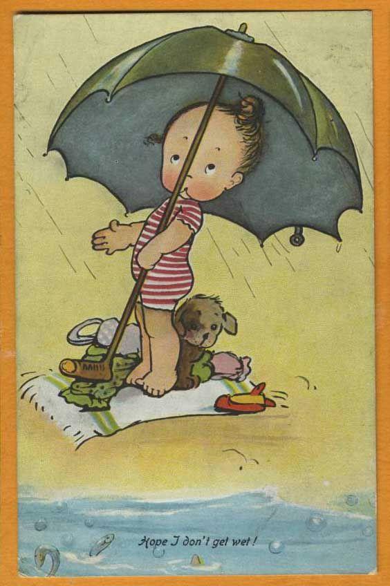 mabel lucie attwell vintage card art toddler girl dog swimming ocean rain umbrella