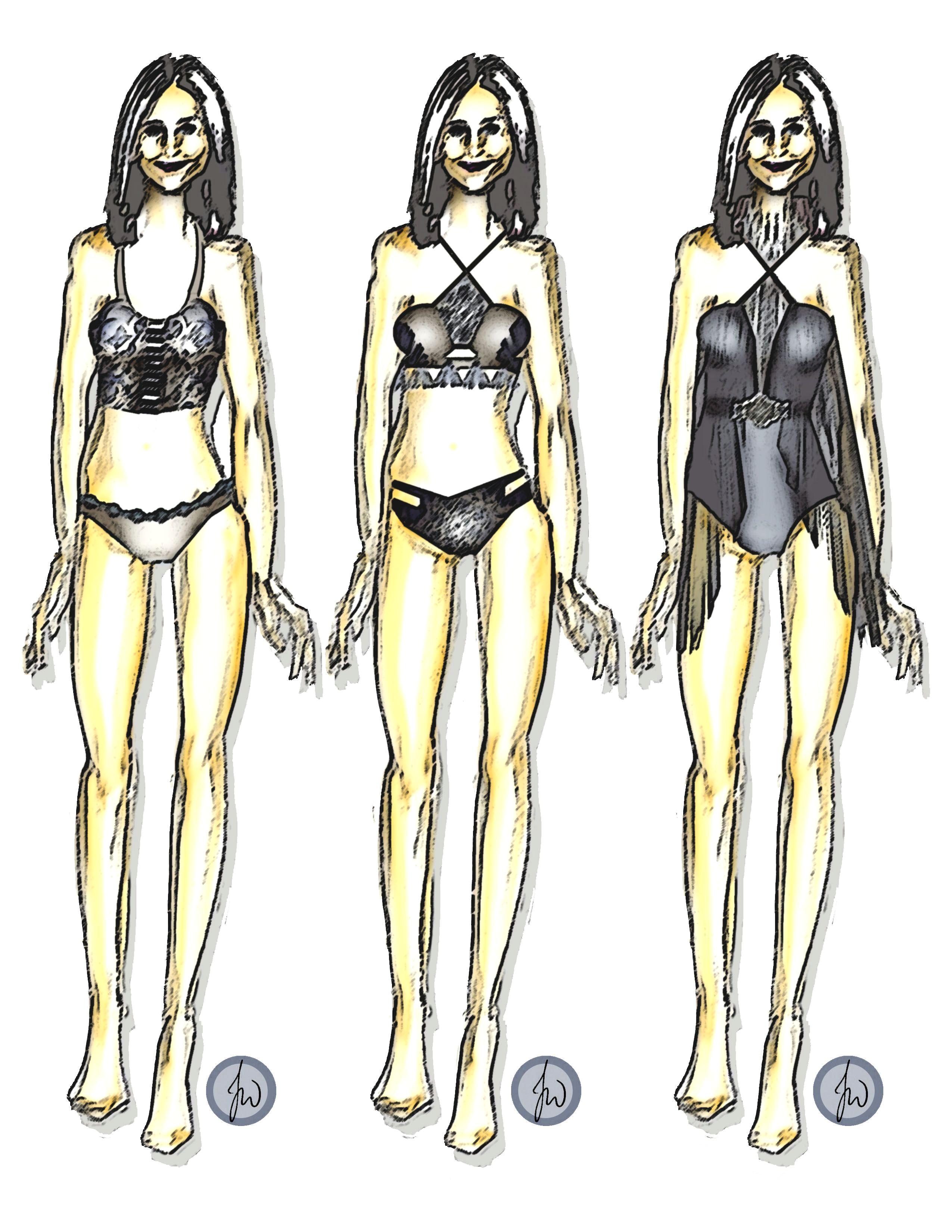 fashion fashiondesign croqui sketch illustration drawing style lingerie swimwear design style original theotherjade