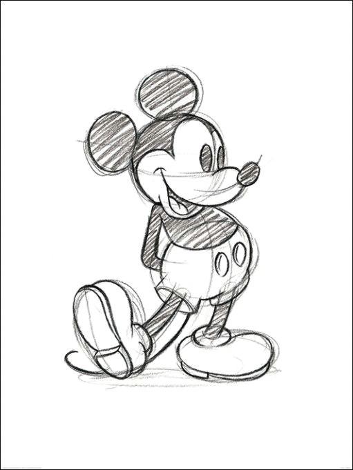 een potlood schets van micky mouse kunnen de leerlingen van groep 2 ook zoiets maken het is maar de vraag maar wel een leuke uitdaging