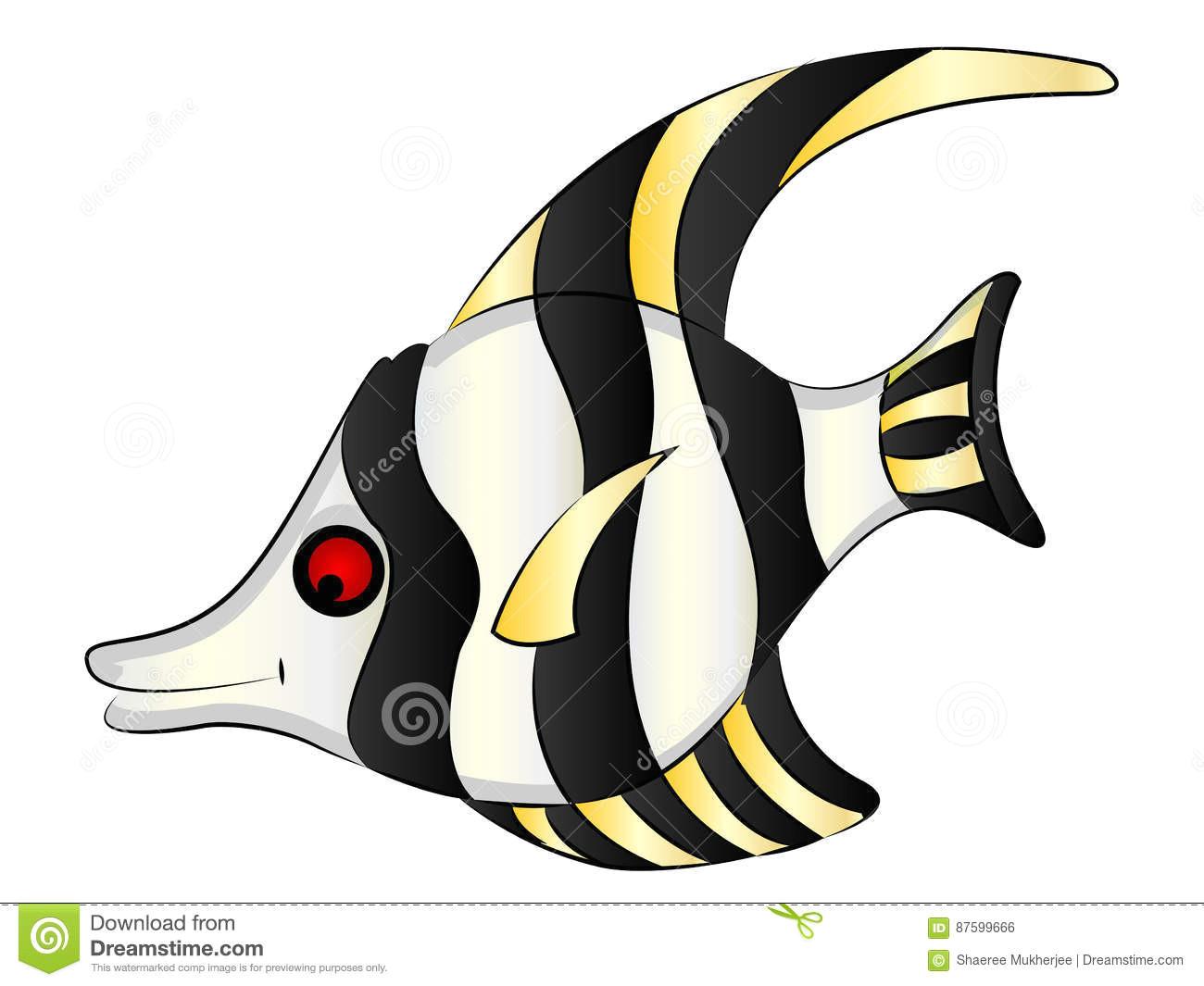 cartoon clipart vector illustration drawing of a cute angel fish
