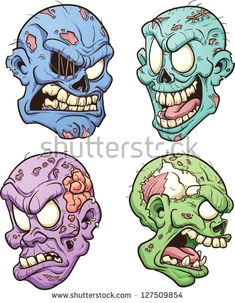 evil zombie heads vector clip art illustration with simple gradients each in a separate layer for easy editing