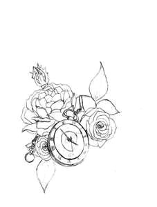 half sleeve idea rose with child s name and watch with the time of birth