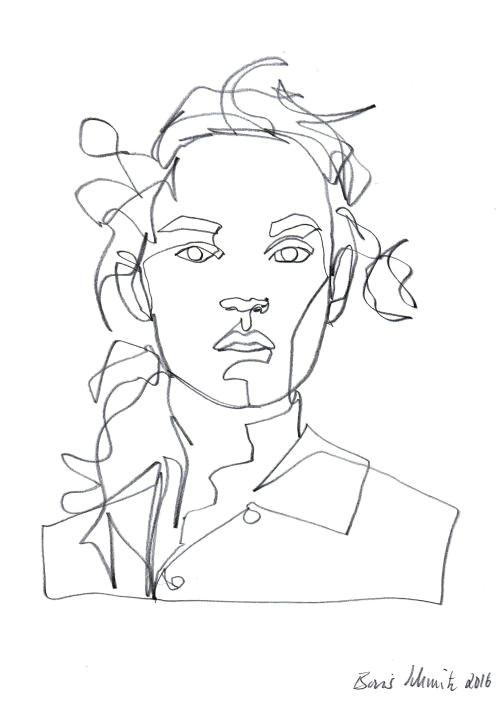 gaze 417 continuous line drawing by boris schmitz