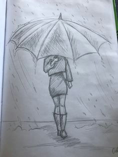 meisje in de regen met een paraplu