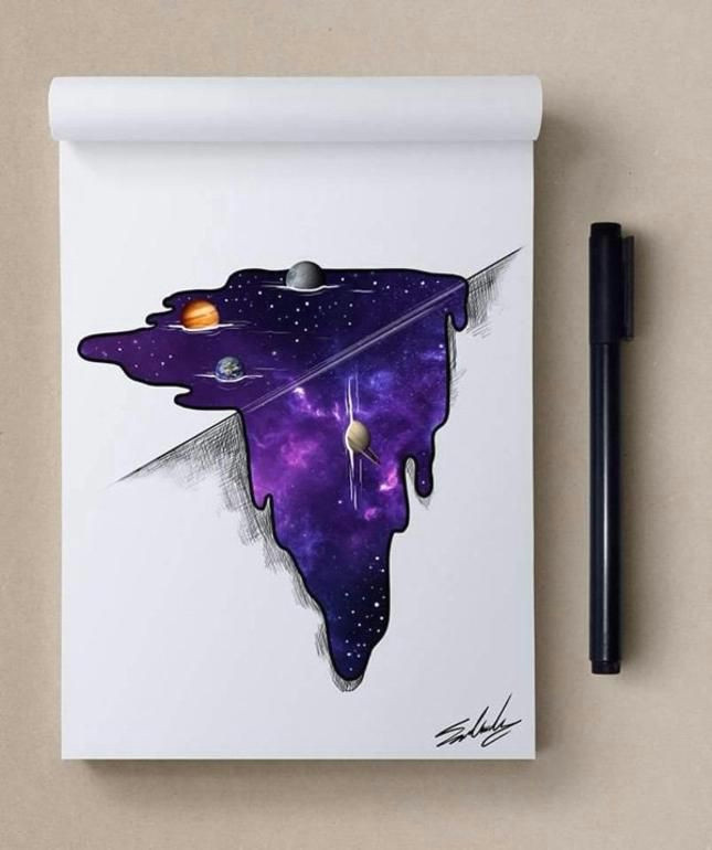 cosmic illustrations by muhammed salah muhammed salah crazy drawings 3d drawings art inspiration
