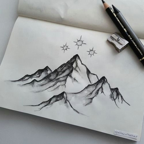 eileen bahar arts cool drawings cool sketches drawing sketches mountain sketch mountain