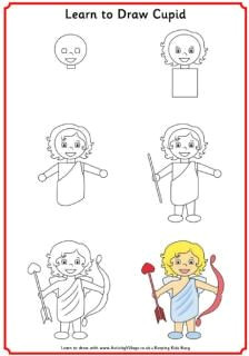 learn to draw cupid valentines day cartoons valentines day drawing valentines day coloring page