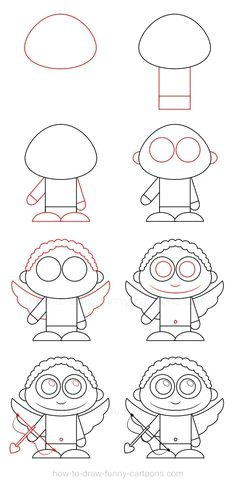 eight simple steps are required to learn how to draw cupid drawing tutorials