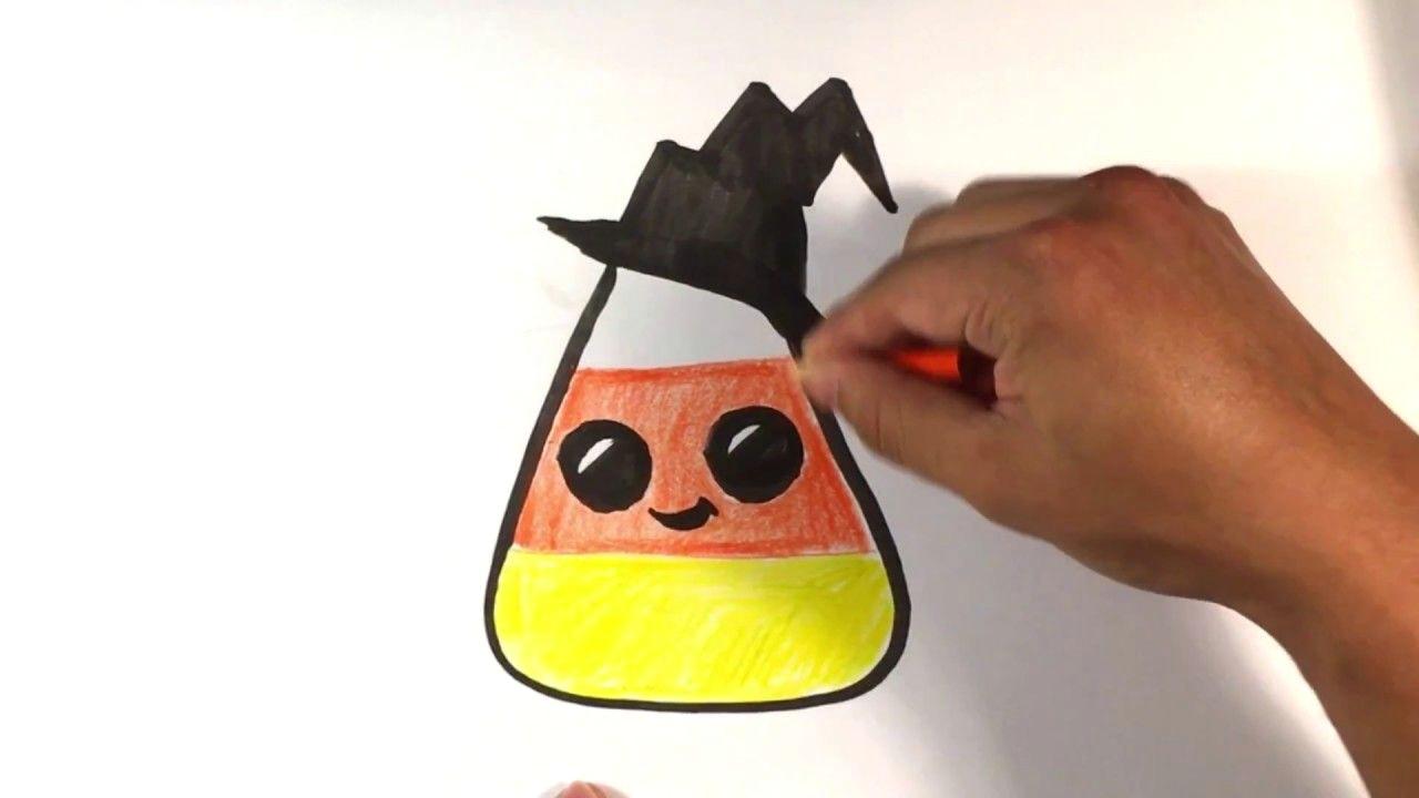how to draw cute candy corn hat version halloween drawings arttutorials artlessonsonline drawinglessonsforfree freeonlinedrawingtutorials