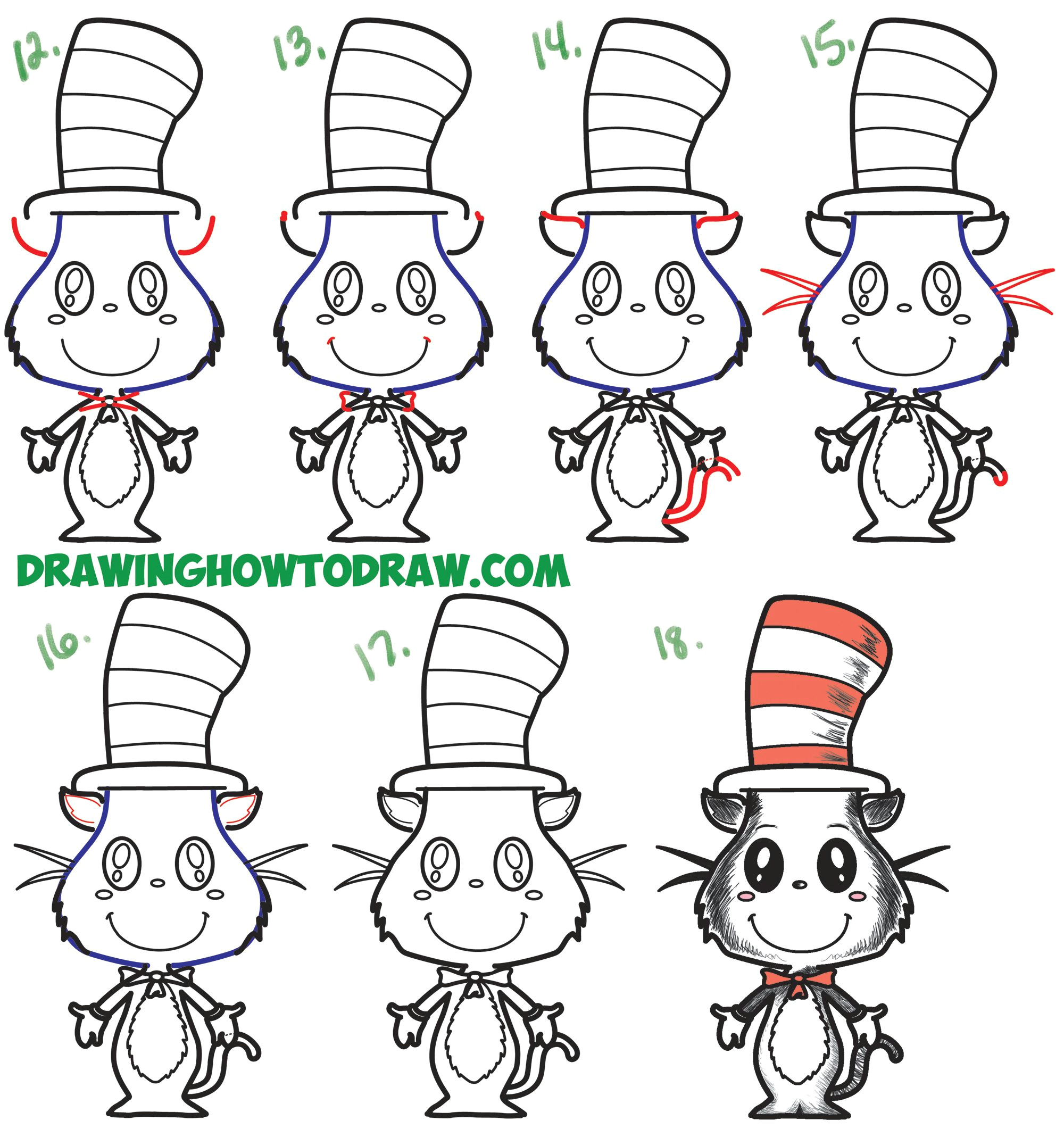 learn how to draw the cat in the hat cute kawaii chibi version simple steps drawing lesson for beginners