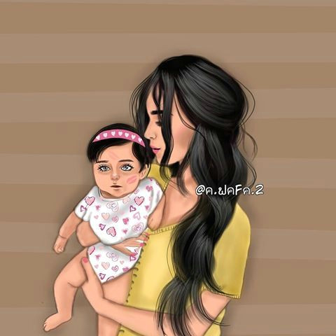 girly m mother and child illustration